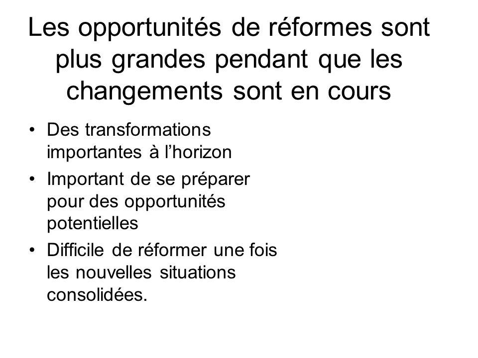 Les opportunités de réformes sont plus grandes pendant que les changements sont en cours Des transformations importantes à lhorizon Important de se préparer pour des opportunités potentielles Difficile de réformer une fois les nouvelles situations consolidées.