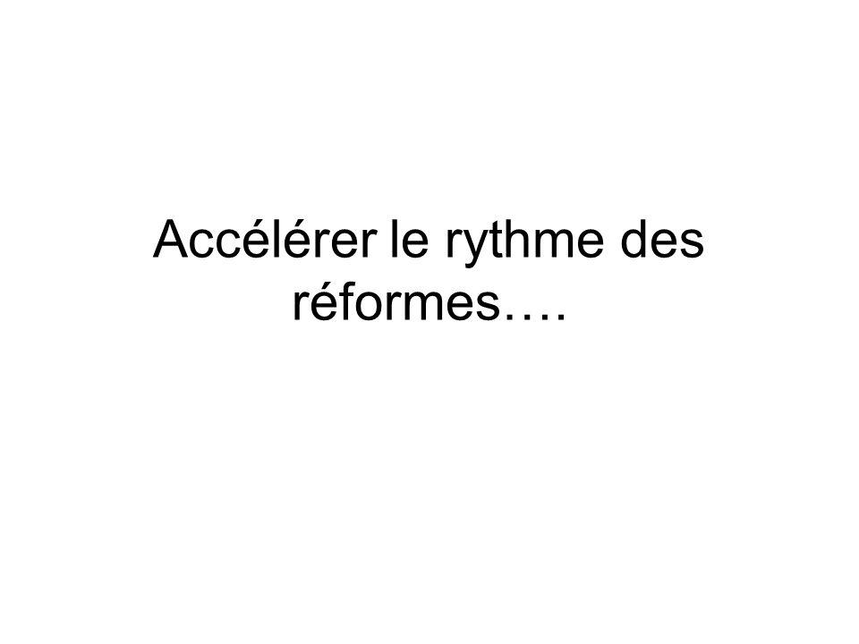 Accélérer le rythme des réformes….