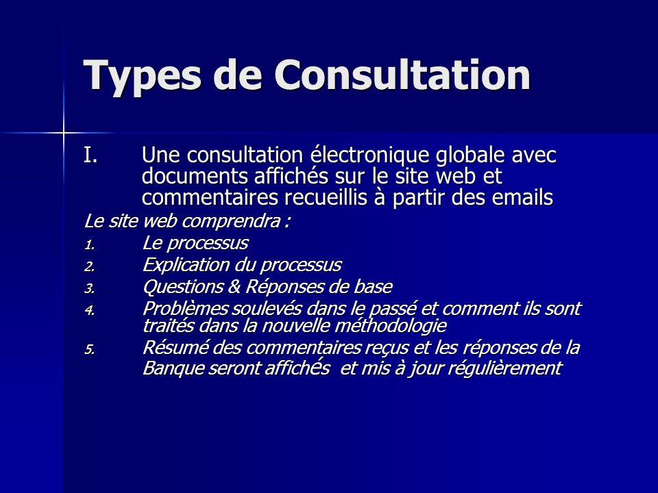 Types de Consultation I.Une consultation électronique globale avec documents affichés sur le site web et commentaires recueillis à partir des emails Le site web comprendra : 1.