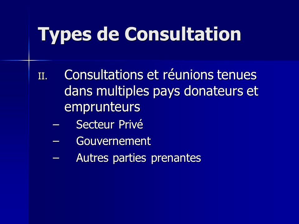 Types de Consultation II. Consultations et réunions tenues dans multiples pays donateurs et emprunteurs –Secteur Privé –Gouvernement –Autres parties p