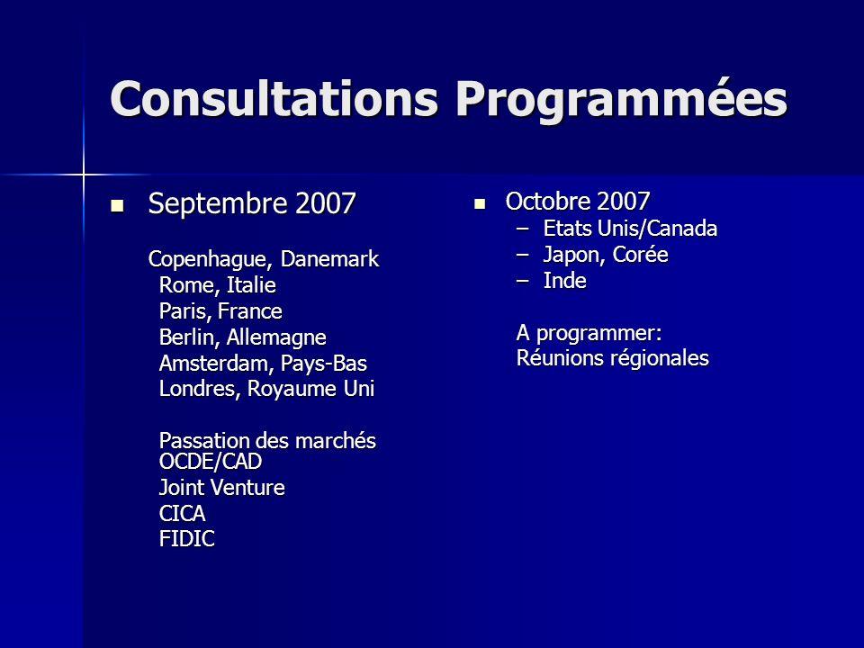 Consultations Programmées Septembre 2007 Septembre 2007 Copenhague, Danemark Rome, Italie Paris, France Berlin, Allemagne Amsterdam, Pays-Bas Londres, Royaume Uni Passation des marchés OCDE/CAD Joint Venture CICAFIDIC Octobre 2007 Octobre 2007 –Etats Unis/Canada –Japon, Corée –Inde A programmer: Réunions régionales