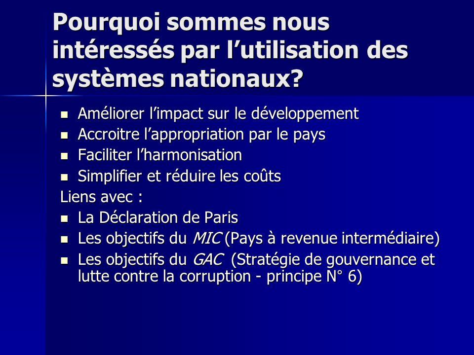 Pourquoi sommes nous intéressés par lutilisation des systèmes nationaux.