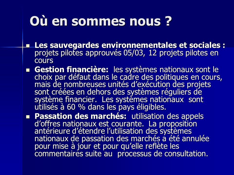 Où en sommes nous ? Les sauvegardes environnementales et sociales : projets pilotes approuvés 05/03, 12 projets pilotes en cours Les sauvegardes envir
