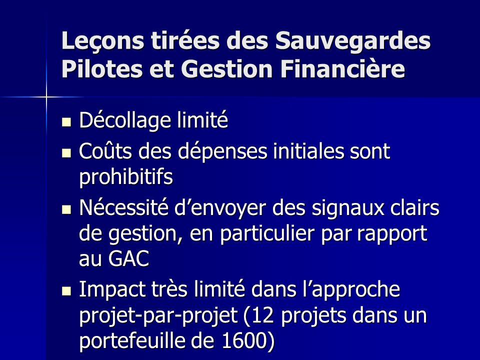 Leçons tirées des Sauvegardes Pilotes et Gestion Financière Décollage limité Décollage limité Coûts des dépenses initiales sont prohibitifs Coûts des dépenses initiales sont prohibitifs Nécessité denvoyer des signaux clairs de gestion, en particulier par rapport au GAC Nécessité denvoyer des signaux clairs de gestion, en particulier par rapport au GAC Impact très limité dans lapproche projet-par-projet (12 projets dans un portefeuille de 1600) Impact très limité dans lapproche projet-par-projet (12 projets dans un portefeuille de 1600)