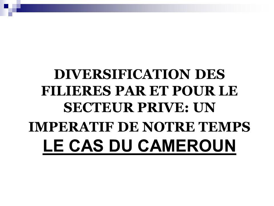 DIVERSIFICATION DES FILIERES PAR ET POUR LE SECTEUR PRIVE: UN IMPERATIF DE NOTRE TEMPS LE CAS DU CAMEROUN