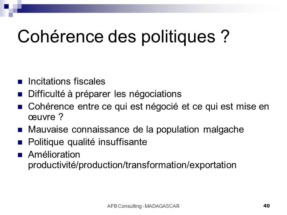 APB Consulting - MADAGASCAR40 Cohérence des politiques ? Incitations fiscales Difficulté à préparer les négociations Cohérence entre ce qui est négoci