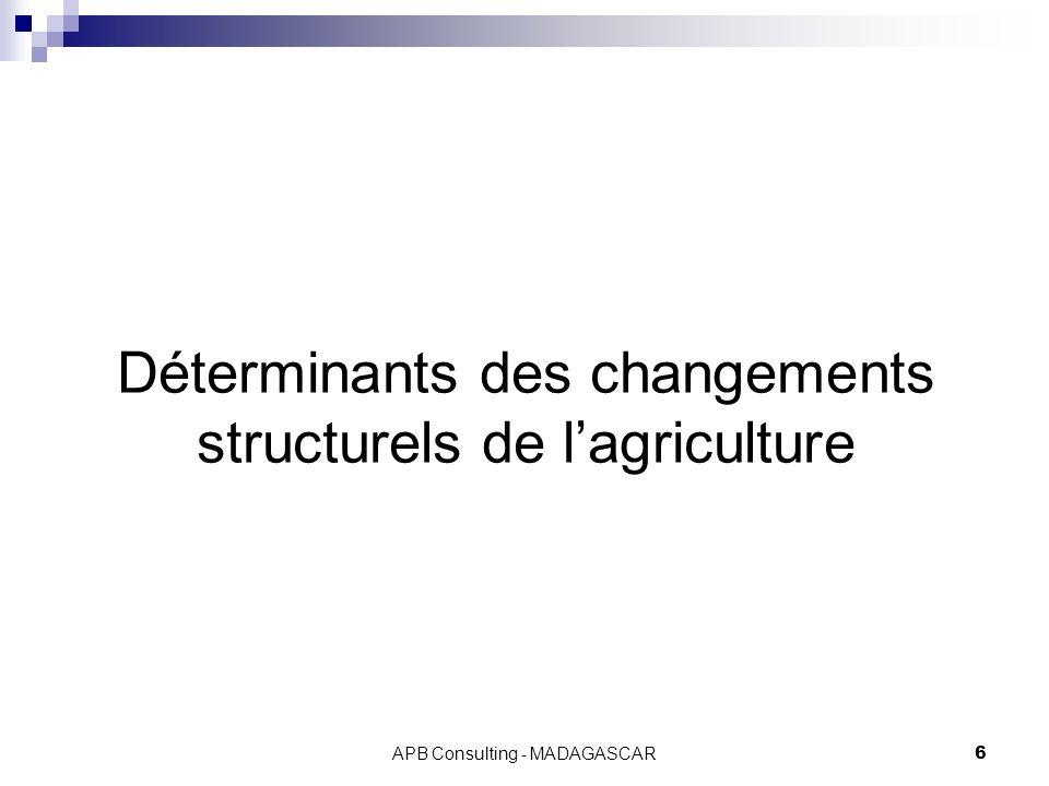 APB Consulting - MADAGASCAR6 Déterminants des changements structurels de lagriculture