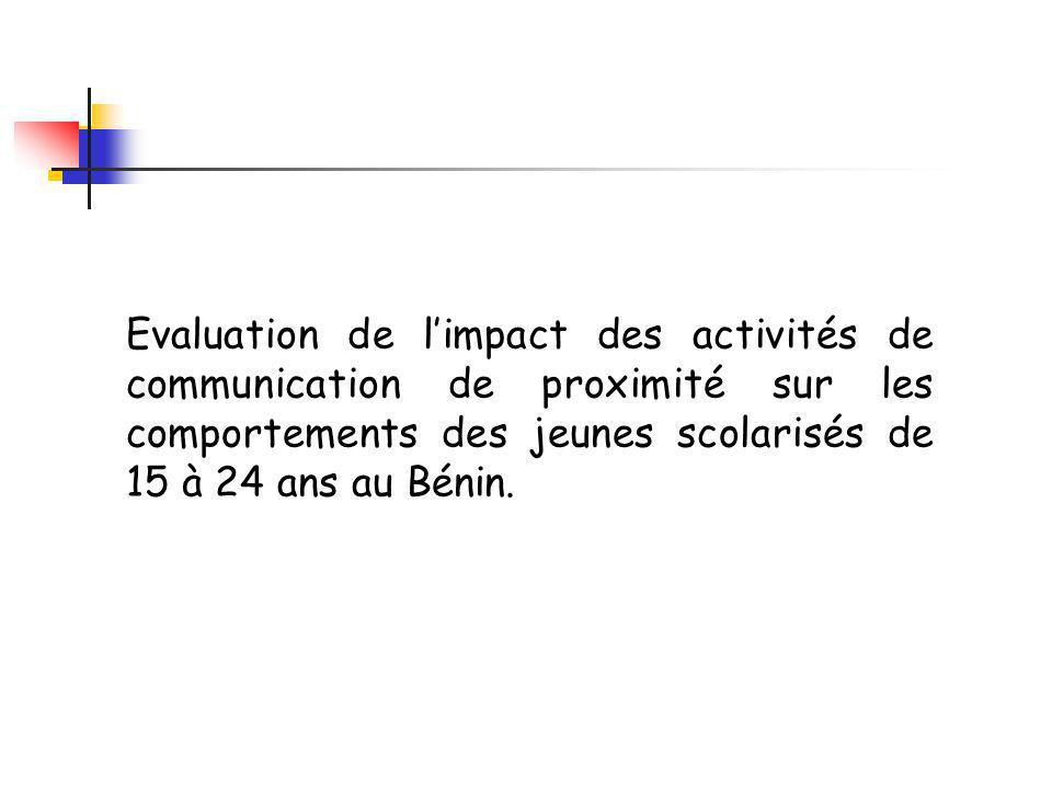 Evaluation de limpact des activités de communication de proximité sur les comportements des jeunes scolarisés de 15 à 24 ans au Bénin.