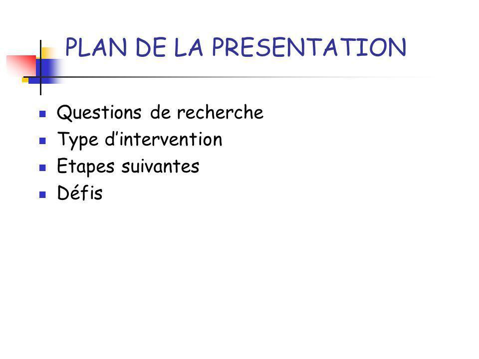 Questions de recherche Type dintervention Etapes suivantes Défis PLAN DE LA PRESENTATION