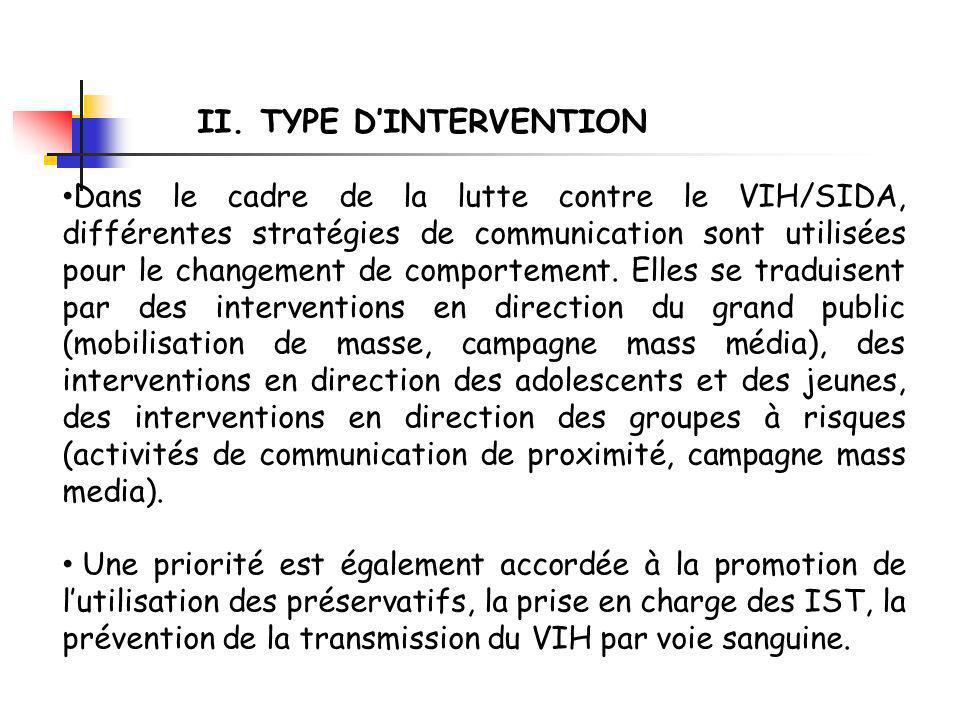 La stratégie dintervention retenue dans cette étude englobe les activités de communication de proximité (éducation par les pairs) et la promotion des préservatifs.