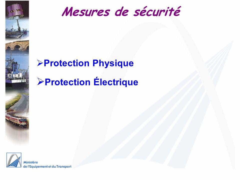 Mesures de sécurité Protection Physique Protection Électrique