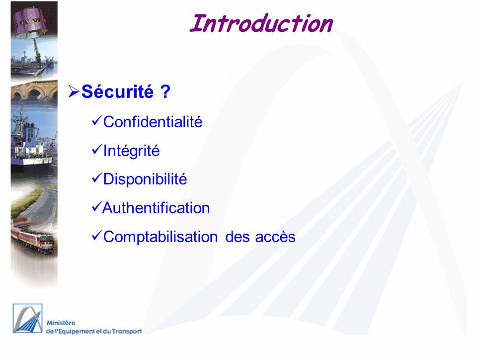 Introduction Sécurité ? Confidentialité Intégrité Disponibilité Authentification Comptabilisation des accès