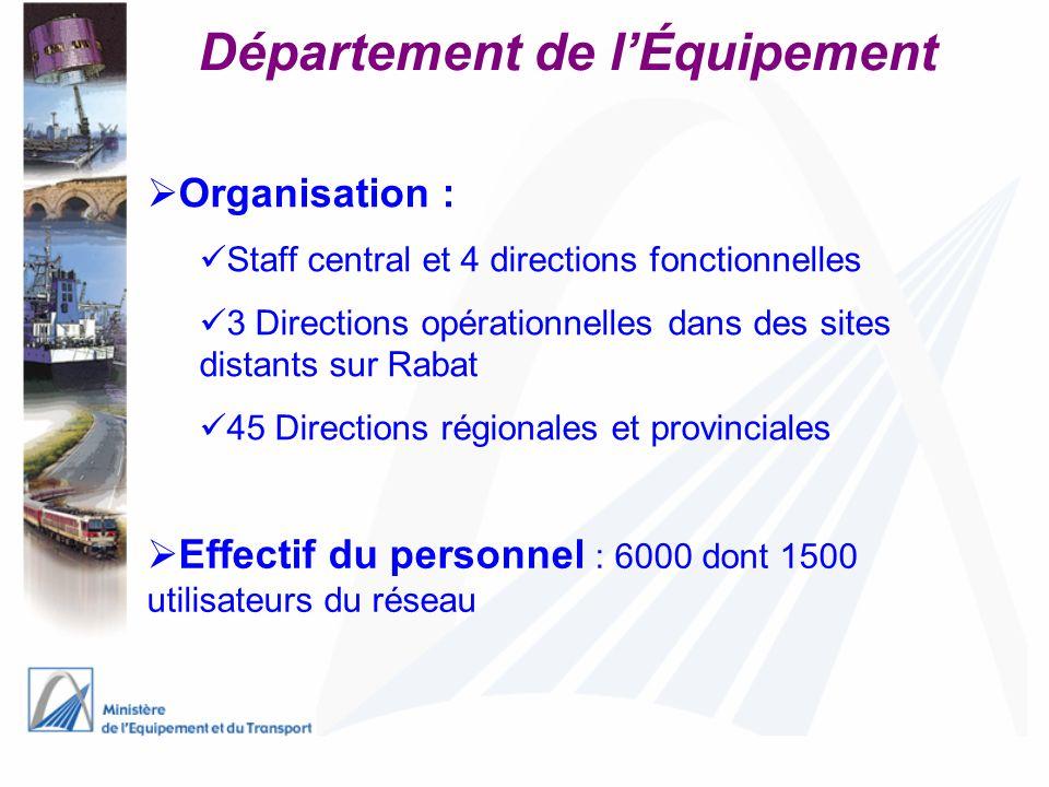 Département de lÉquipement Organisation : Staff central et 4 directions fonctionnelles 3 Directions opérationnelles dans des sites distants sur Rabat