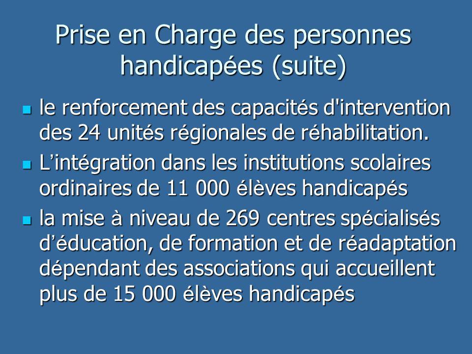 Prise en Charge des personnes handicap é es (suite) le renforcement des capacit é s d intervention des 24 unit é s r é gionales de r é habilitation.