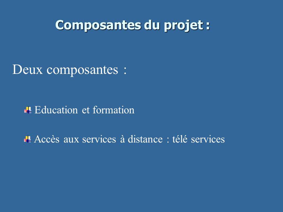 Composantes du projet : Deux composantes : Education et formation Accès aux services à distance : télé services