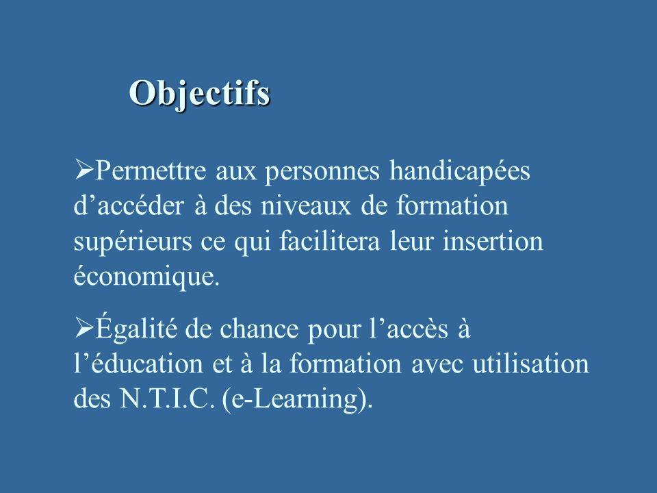 Objectifs Permettre aux personnes handicapées daccéder à des niveaux de formation supérieurs ce qui facilitera leur insertion économique.