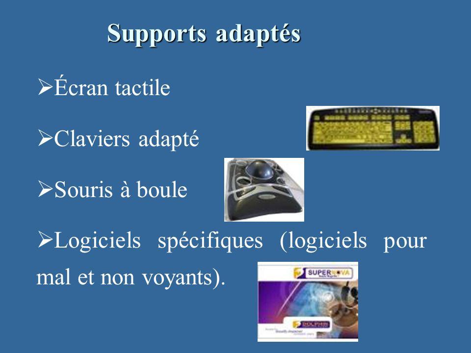 Écran tactile Claviers adapté Souris à boule Logiciels spécifiques (logiciels pour mal et non voyants).