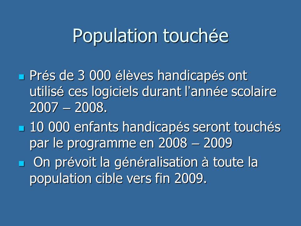 Population touch é e Pr é s de 3 000 é l è ves handicap é s ont utilis é ces logiciels durant l ann é e scolaire 2007 – 2008.