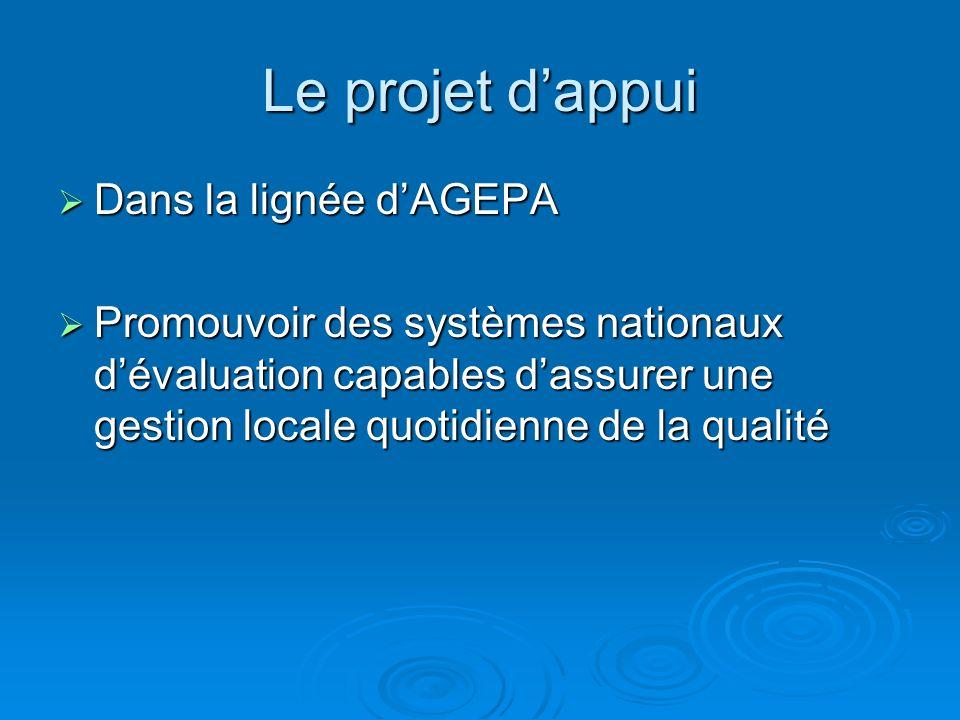 Le projet dappui Dans la lignée dAGEPA Dans la lignée dAGEPA Promouvoir des systèmes nationaux dévaluation capables dassurer une gestion locale quotidienne de la qualité Promouvoir des systèmes nationaux dévaluation capables dassurer une gestion locale quotidienne de la qualité