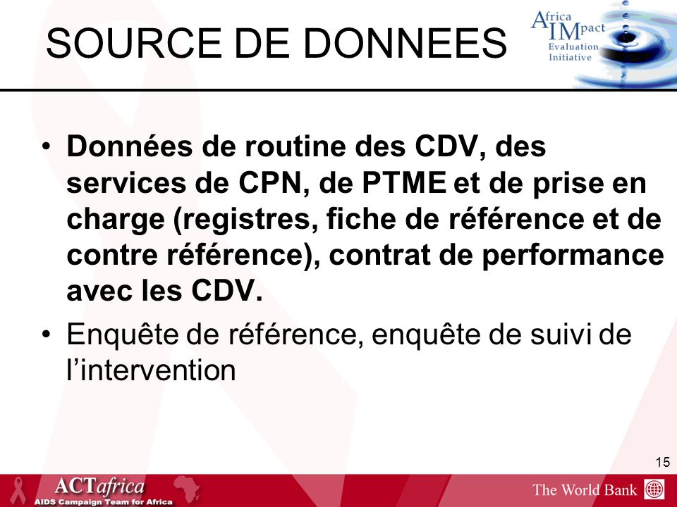 SOURCE DE DONNEES Données de routine des CDV, des services de CPN, de PTME et de prise en charge (registres, fiche de référence et de contre référence), contrat de performance avec les CDV.