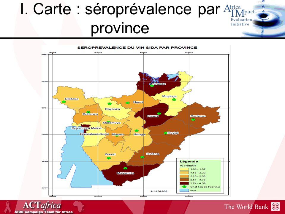 I. Carte : séroprévalence par province