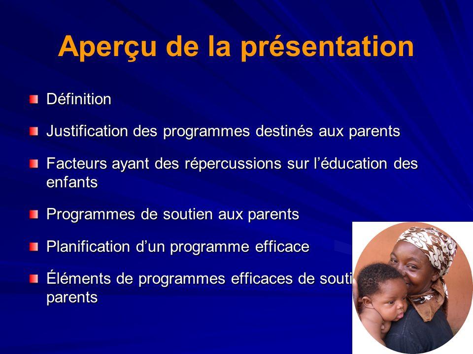 Aperçu de la présentation Définition Justification des programmes destinés aux parents Facteurs ayant des répercussions sur léducation des enfants Pro