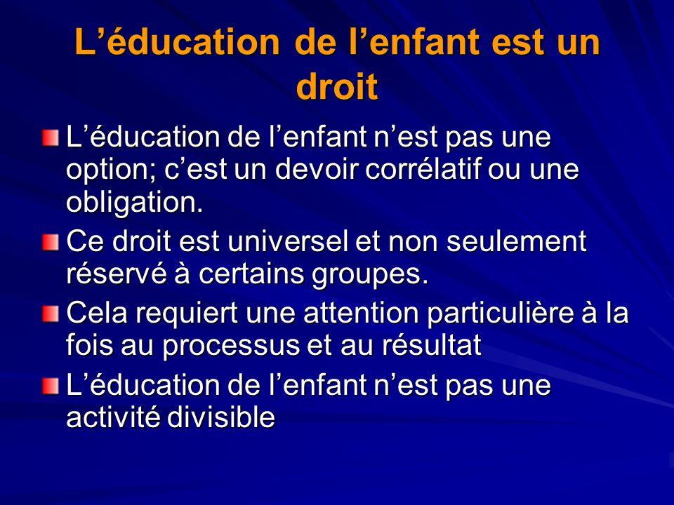Léducation de lenfant est un droit Léducation de lenfant nest pas une option; cest un devoir corrélatif ou une obligation. Ce droit est universel et n
