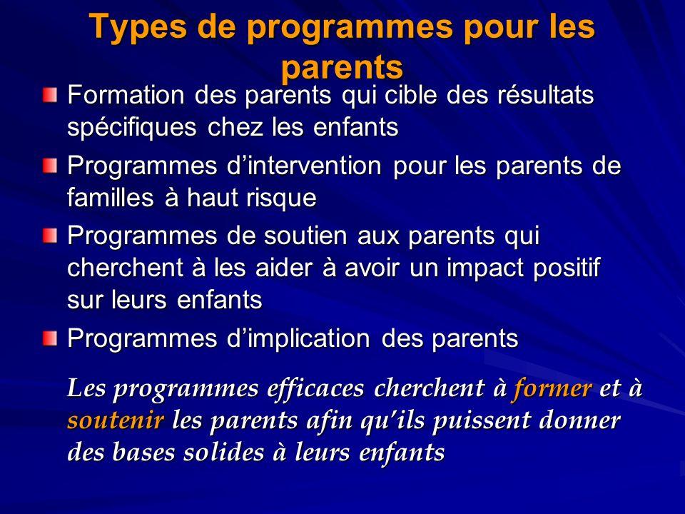 Types de programmes pour les parents Formation des parents qui cible des résultats spécifiques chez les enfants Programmes dintervention pour les pare