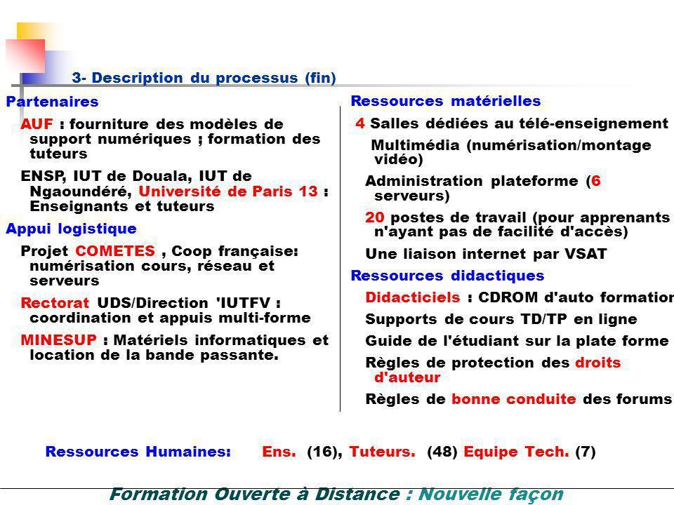 Formation Ouverte à Distance : Nouvelle façon dapprendre et denseigner 3- Description du processus (suite) Technologies utilisées: Logiciels libres (L