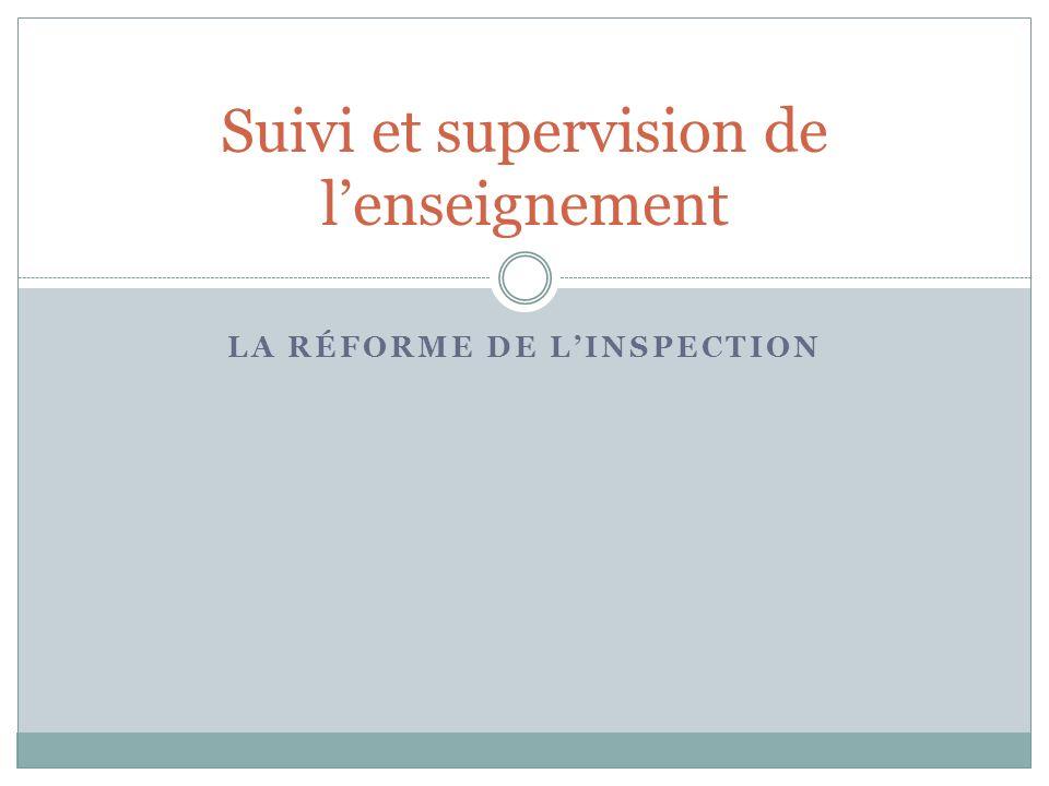 LA RÉFORME DE LINSPECTION Suivi et supervision de lenseignement
