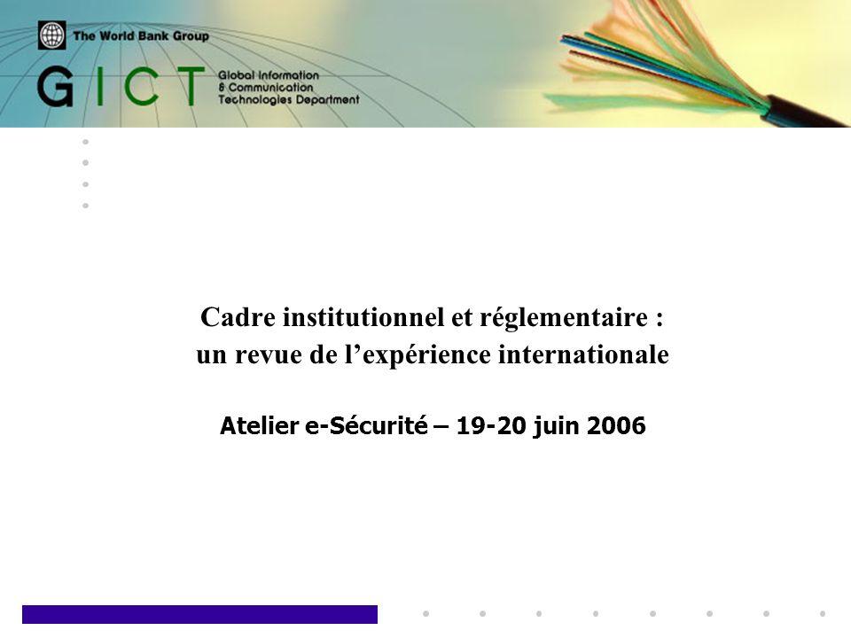 1 Cadre institutionnel et réglementaire : un revue de lexpérience internationale Atelier e-Sécurité – 19-20 juin 2006