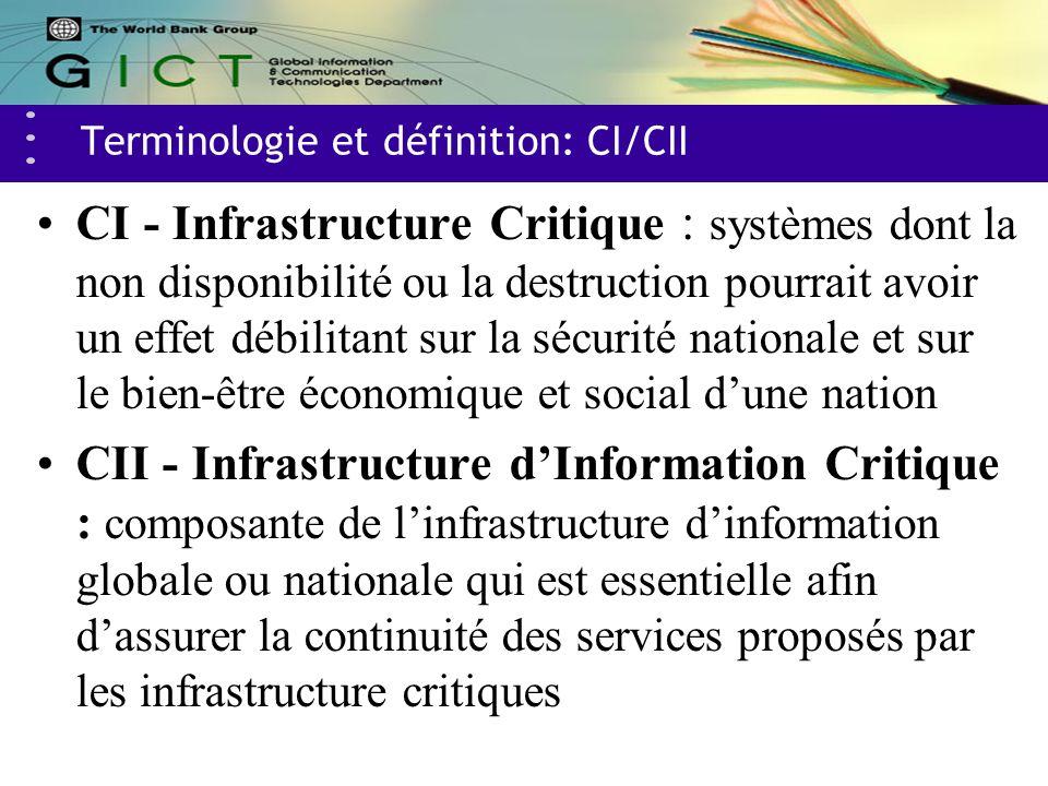 Terminologie et définition: CI/CII CI - Infrastructure Critique : systèmes dont la non disponibilité ou la destruction pourrait avoir un effet débilitant sur la sécurité nationale et sur le bien-être économique et social dune nation CII - Infrastructure dInformation Critique : composante de linfrastructure dinformation globale ou nationale qui est essentielle afin dassurer la continuité des services proposés par les infrastructure critiques