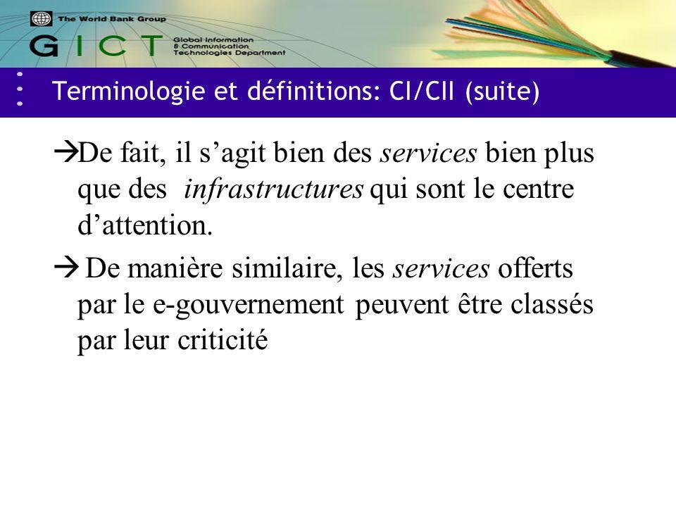 Terminologie et définitions: CI/CII (suite) De fait, il sagit bien des services bien plus que des infrastructures qui sont le centre dattention.