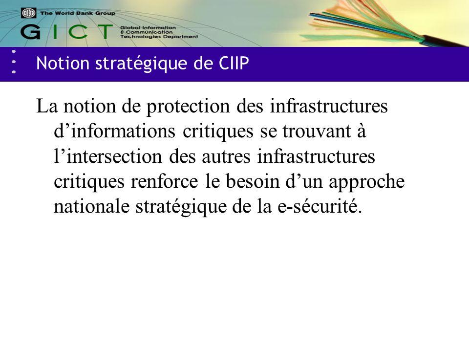 Notion stratégique de CIIP La notion de protection des infrastructures dinformations critiques se trouvant à lintersection des autres infrastructures critiques renforce le besoin dun approche nationale stratégique de la e-sécurité.
