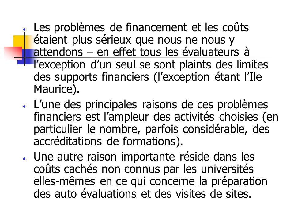 Les problèmes de financement et les coûts étaient plus sérieux que nous ne nous y attendons – en effet tous les évaluateurs à lexception dun seul se sont plaints des limites des supports financiers (lexception étant lIle Maurice).