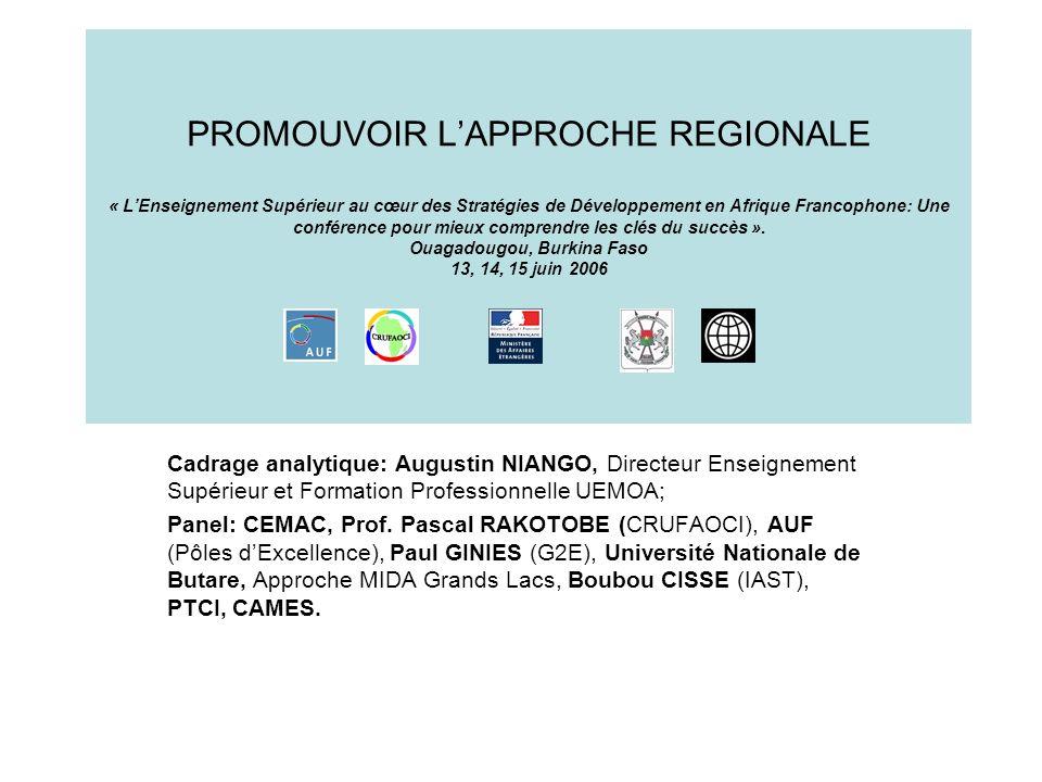 Le chemin parcouru « Les universités dAfrique francophone et la connaissance au service du développement », Niamey, Niger, 15 juillet 2005, « Contributions des universités dAfrique francophone au développement : leçons à tirer des initiatives réussies », Saly, Sénégal, 30 novembre – 2 décembre 2005, « Approfondir les échanges ».