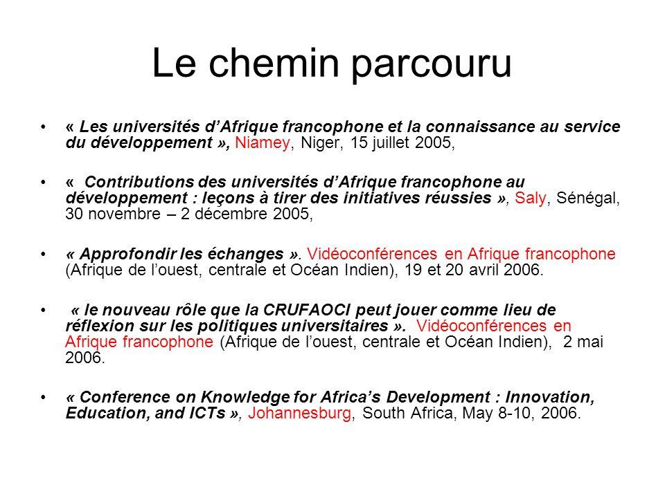 Le chemin qui reste à parcourir… LEnseignement Supérieur au coeur des Stratégies de Développement en Afrique Francophone: une Conférence pour mieux comprendre les clés du succès Ouagadougou, Burkina Faso, 13 – 15 JUIN 2006 Assemblée Générale de la CRUFAOCI, Bangui, 13 - 20 juillet 2006.