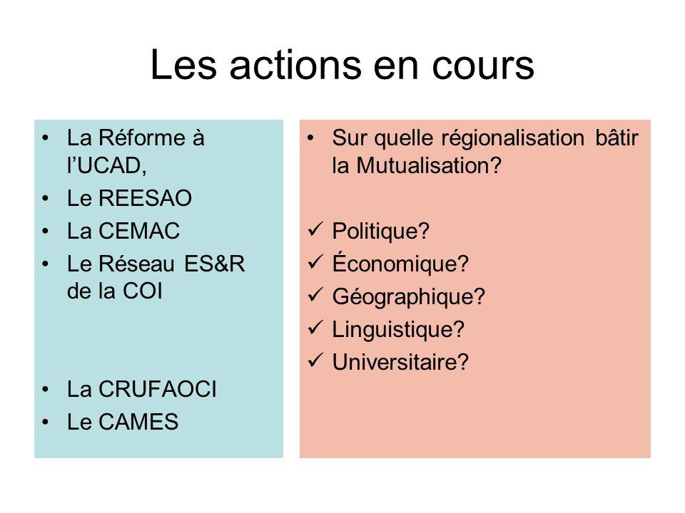 Les actions en cours La Réforme à lUCAD, Le REESAO La CEMAC Le Réseau ES&R de la COI La CRUFAOCI Le CAMES Sur quelle régionalisation bâtir la Mutualis