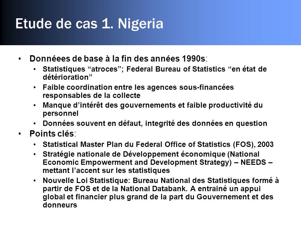 Etude de cas 1. Nigeria Donnéees de base à la fin des années 1990s: Statistiques atroces; Federal Bureau of Statistics en état de détérioration Faible