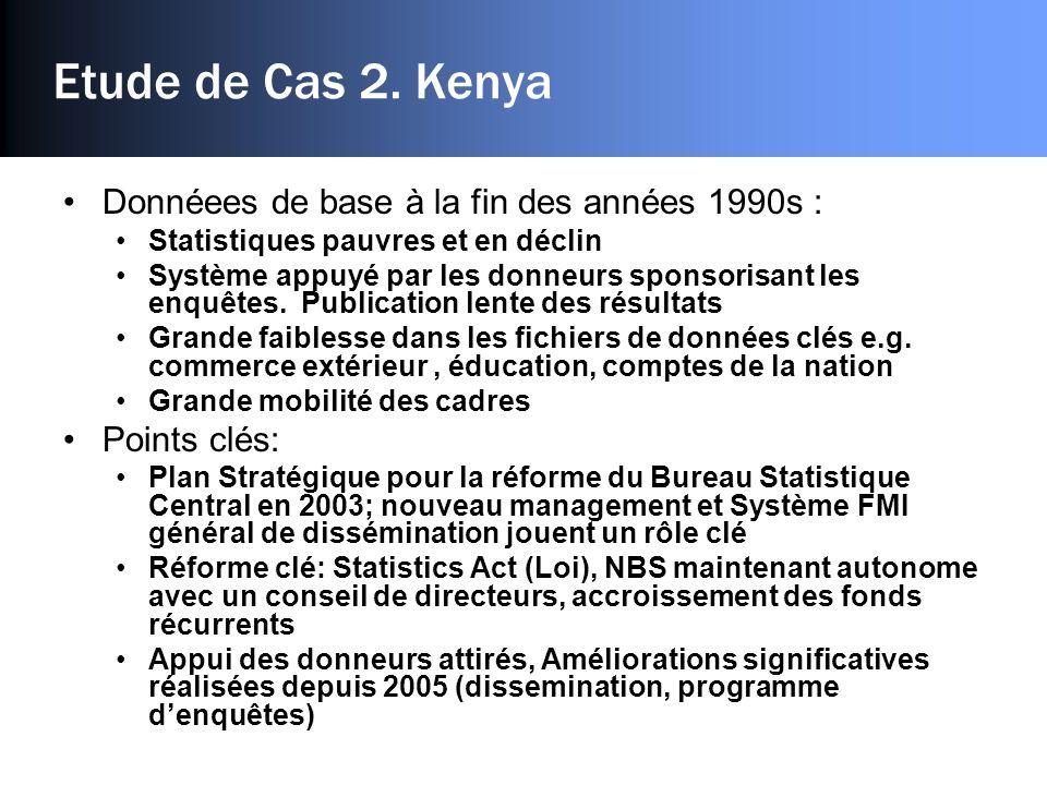 Etude de Cas 2. Kenya Donnéees de base à la fin des années 1990s : Statistiques pauvres et en déclin Système appuyé par les donneurs sponsorisant les