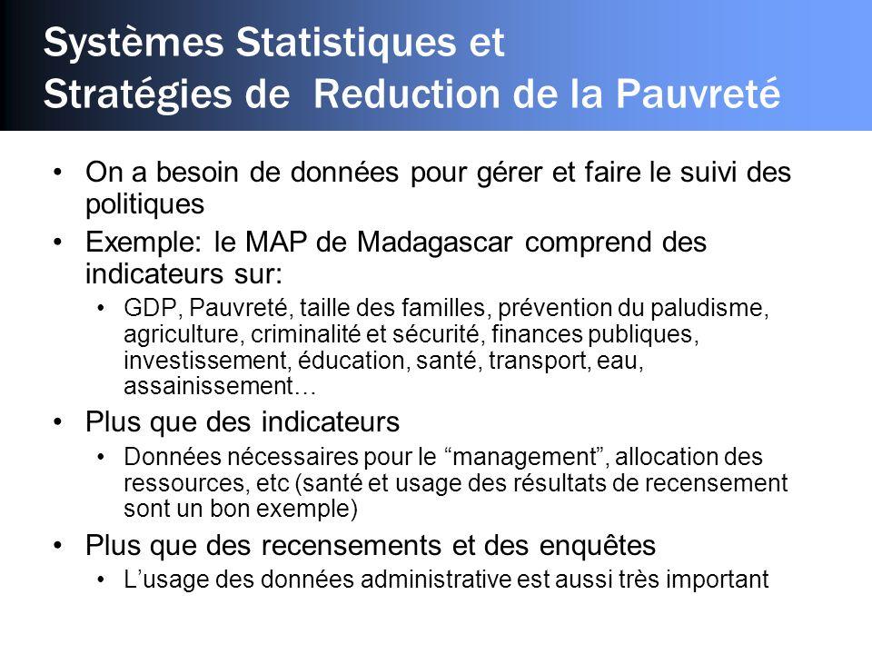Systèmes Statistiques et Stratégies de Reduction de la Pauvreté On a besoin de données pour gérer et faire le suivi des politiques Exemple: le MAP de