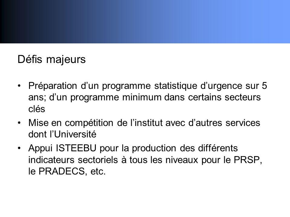 Défis majeurs Préparation dun programme statistique durgence sur 5 ans; dun programme minimum dans certains secteurs clés Mise en compétition de linst