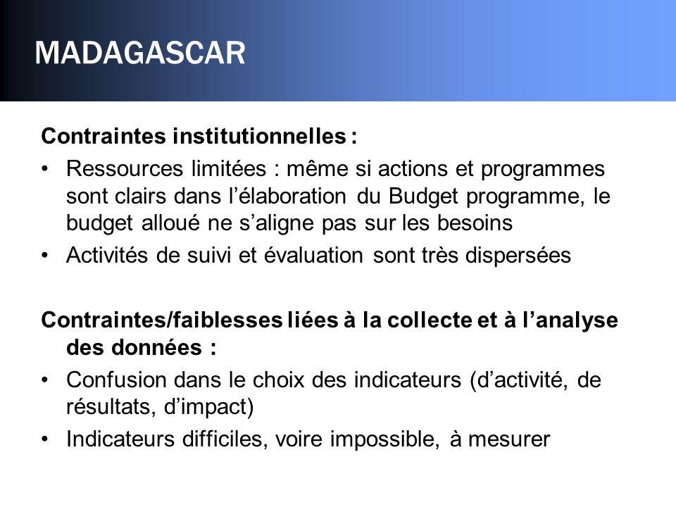 MADAGASCAR Contraintes institutionnelles : Ressources limitées : même si actions et programmes sont clairs dans lélaboration du Budget programme, le b