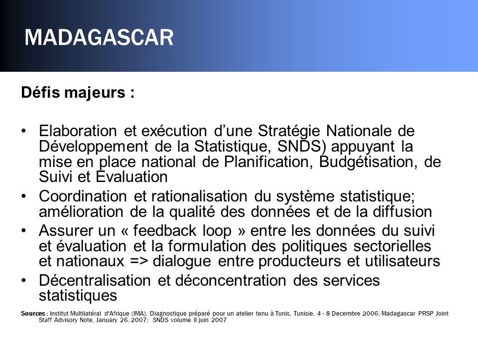 MADAGASCAR Défis majeurs : Elaboration et exécution dune Stratégie Nationale de Développement de la Statistique, SNDS) appuyant la mise en place natio