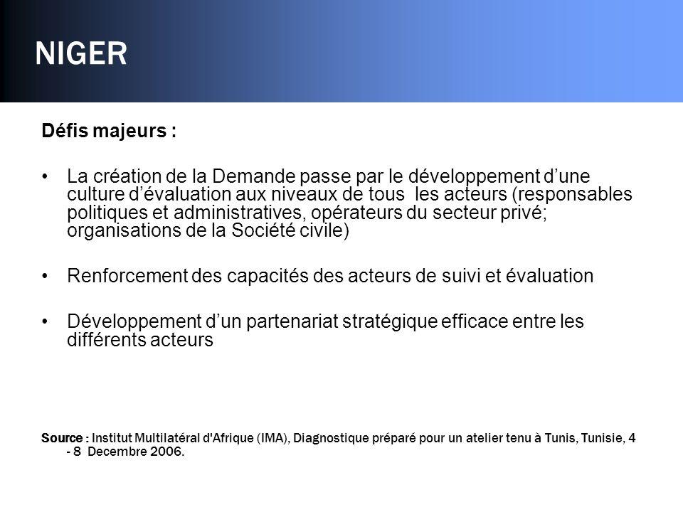 NIGER Défis majeurs : La création de la Demande passe par le développement dune culture dévaluation aux niveaux de tous les acteurs (responsables politiques et administratives, opérateurs du secteur privé; organisations de la Société civile) Renforcement des capacités des acteurs de suivi et évaluation Développement dun partenariat stratégique efficace entre les différents acteurs Source : Institut Multilatéral d Afrique (IMA), Diagnostique préparé pour un atelier tenu à Tunis, Tunisie, 4 - 8 Decembre 2006.