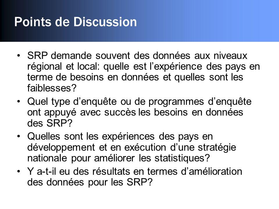 Points de Discussion SRP demande souvent des données aux niveaux régional et local: quelle est lexpérience des pays en terme de besoins en données et quelles sont les faiblesses.