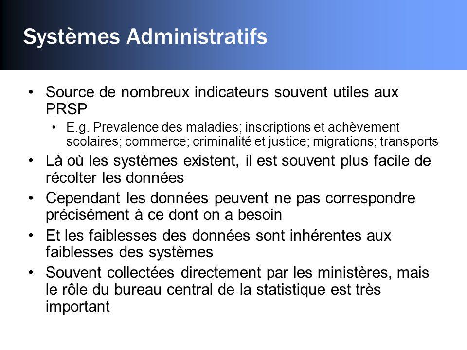 Systèmes Administratifs Source de nombreux indicateurs souvent utiles aux PRSP E.g.