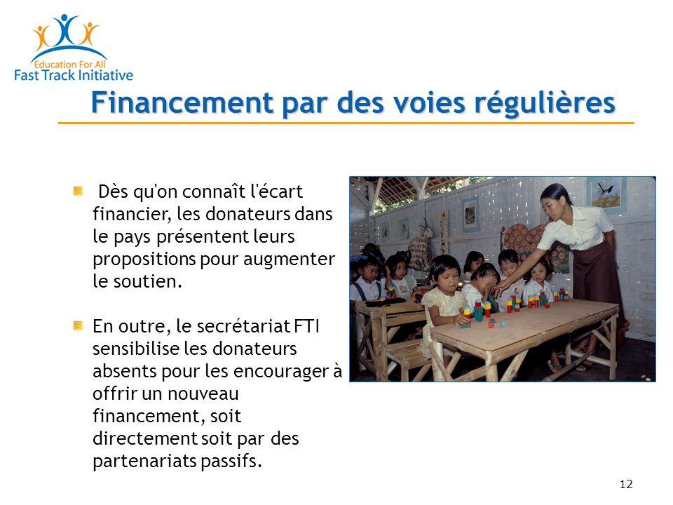 12 Financement par des voies régulières Dès qu on connaît l écart financier, les donateurs dans le pays présentent leurs propositions pour augmenter le soutien.