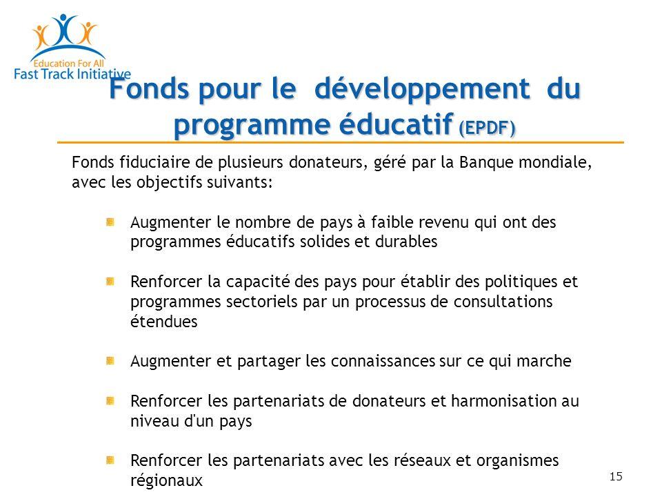 15 Fonds fiduciaire de plusieurs donateurs, géré par la Banque mondiale, avec les objectifs suivants: Augmenter le nombre de pays à faible revenu qui ont des programmes éducatifs solides et durables Renforcer la capacité des pays pour établir des politiques et programmes sectoriels par un processus de consultations étendues Augmenter et partager les connaissances sur ce qui marche Renforcer les partenariats de donateurs et harmonisation au niveau d un pays Renforcer les partenariats avec les réseaux et organismes régionaux Fonds pour le développement du programme éducatif (EPDF)