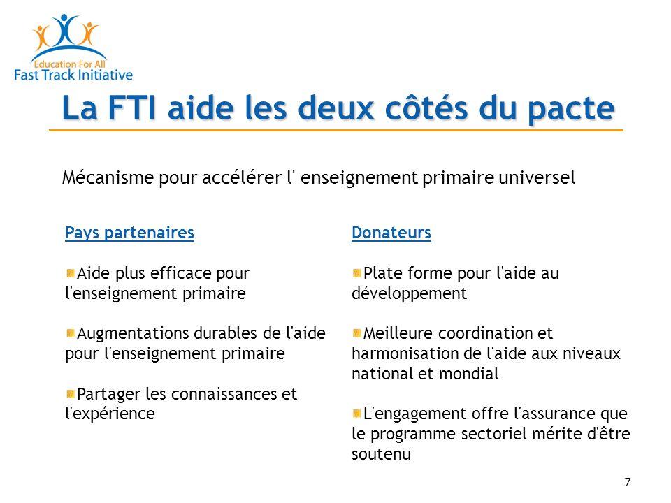 8 Principes directeurs de la FTI Un pays, une stratégie pour l éducation, un processus Couvrir tout le secteur Réaliste et durable Liée à la stratégie globale pour la réduction de la pauvreté Cherche à combler4 écarts: Politique Données Finance Capacité